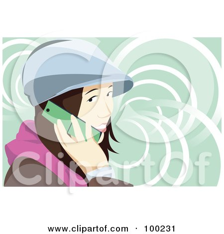 Royalty-Free (RF) Clipart Illustration of a Brunette Woman Wearing A Hat And Talking On A Cell Phone by mayawizard101