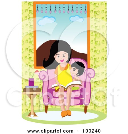 Royalty-Free (RF) Clipart Illustration of a Mother And Son Reading A