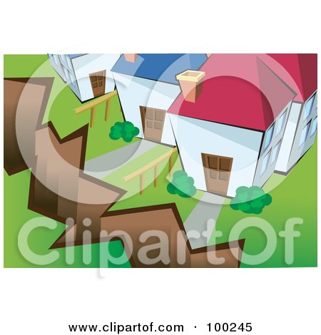 Royalty-Free (RF) Clipart Illustration of a Crack From An Earthquake In Front Of Homes by mayawizard101