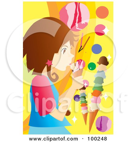 Royalty-Free (RF) Clipart Illustration of a Brunette Girl Licking An Ice Cream Cone by mayawizard101