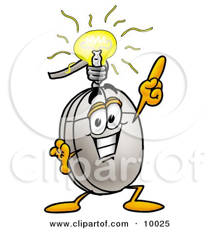 Clipart Picture of a Computer Mouse Mascot Cartoon Character With a Bright Idea by Toons4Biz