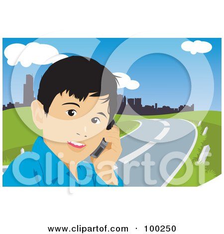 Royalty-Free (RF) Clipart Illustration of a Little Boy Talking On A Cell Phone By A Road by mayawizard101