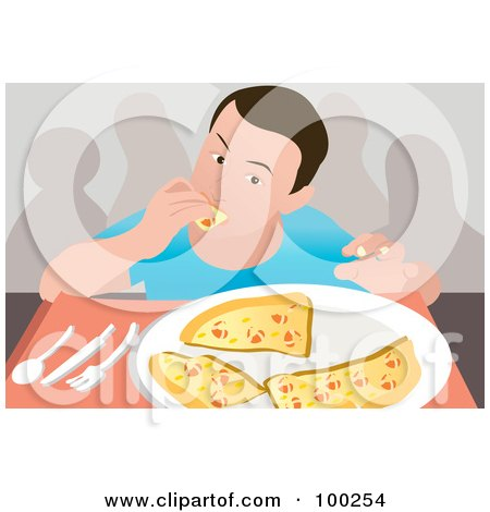 Royalty-Free (RF) Clipart Illustration of a Man Eating A Plate Of Pizza Slices by mayawizard101