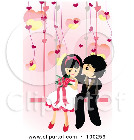 Royalty-Free (RF) Clipart Illustration of a Cute Wedding Couple Sitting On A Swing by mayawizard101