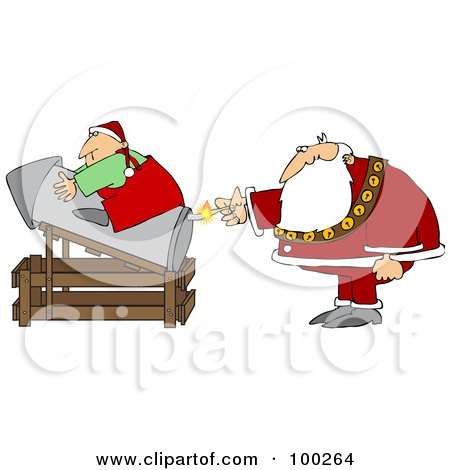 Royalty-Free (RF) Clipart Illustration of Santa Lighting A Rocket With An Elf On Top by djart