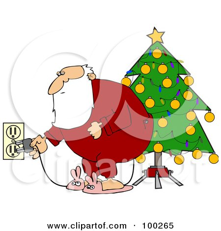 Royalty-Free (RF) Clipart Illustration of Santa In Pajamas, Plugging In His Christmas Tree Lights by djart
