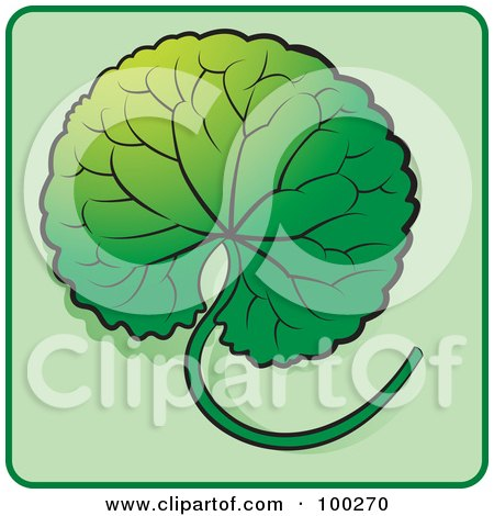 Royalty-Free (RF) Clipart Illustration of a Green Leaf Icon - 7 by Lal Perera