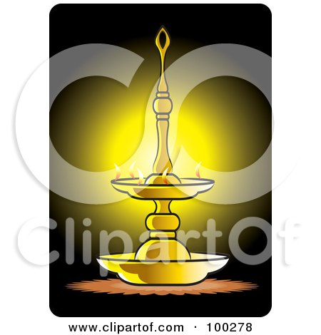 Royalty-Free (RF) Clipart Illustration of a Brass Oil Lamp Glowing by Lal Perera