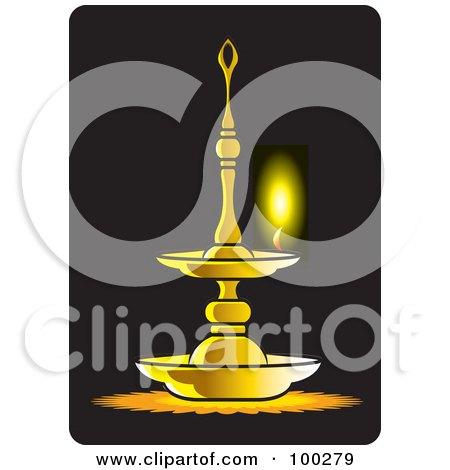 Royalty-Free (RF) Clipart Illustration of a Burning Oil Lamp by Lal Perera
