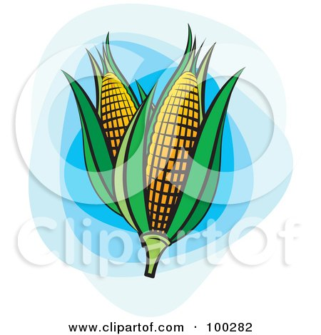 Royalty-Free (RF) Clipart Illustration of Two Ears Of Corn With Green Foliage Over Blue by Lal Perera