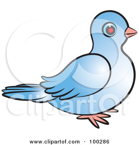 Royalty-Free (RF) Clipart Illustration of a Blue Dove Facing Right by Lal Perera