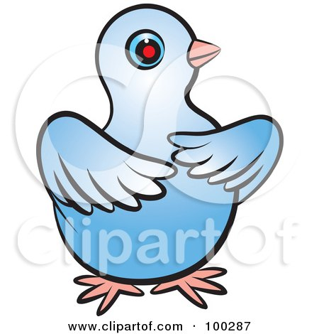 Royalty-Free (RF) Clipart Illustration of a Blue Dove With Its Wings In Front Of Its Body by Lal Perera