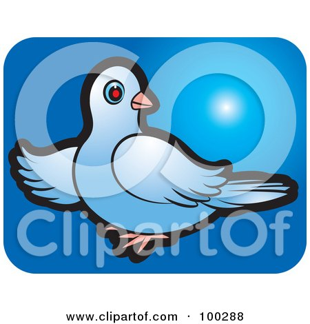 Royalty-Free (RF) Clipart Illustration of a Blue Dove Icon - 2 by Lal Perera