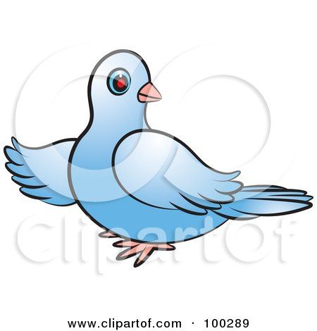 Royalty-Free (RF) Clipart Illustration of a Blue Dove Pointing Left by Lal Perera