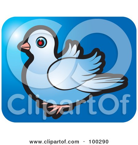 Royalty-Free (RF) Clipart Illustration of a Blue Dove Icon - 4 by Lal Perera