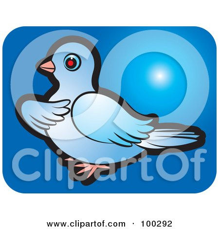 Royalty-Free (RF) Clipart Illustration of a Blue Dove Icon - 1 by Lal Perera
