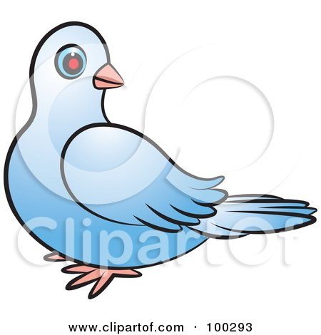 Royalty-Free (RF) Clipart Illustration of a Blue Dove Looking Back by Lal Perera