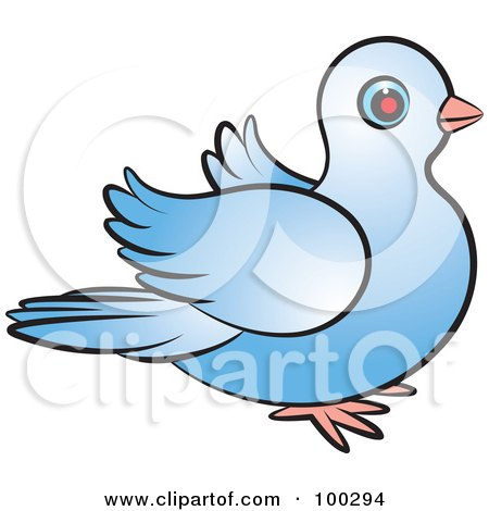 Royalty-Free (RF) Clipart Illustration of a Blue Dove Flapping Right by Lal Perera