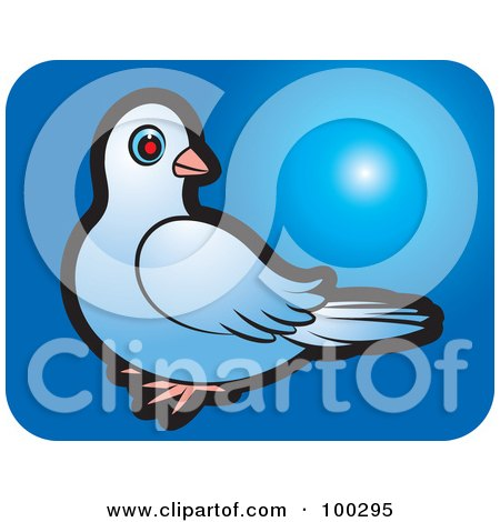 Royalty-Free (RF) Clipart Illustration of a Blue Dove Icon - 3 by Lal Perera