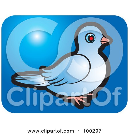 Royalty-Free (RF) Clipart Illustration of a Blue Dove Icon - 5 by Lal Perera