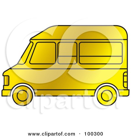 Royalty-Free (RF) Clipart Illustration of a Gold Van by Lal Perera