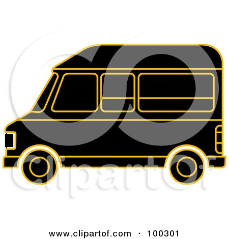 Royalty-Free (RF) Clipart Illustration of a Black And Gold Van by Lal Perera