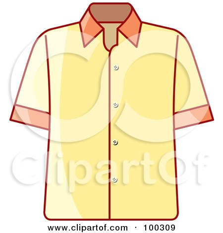 Royalty-Free (RF) Clipart Illustration of a Yellow Button Up Shirt by Lal Perera