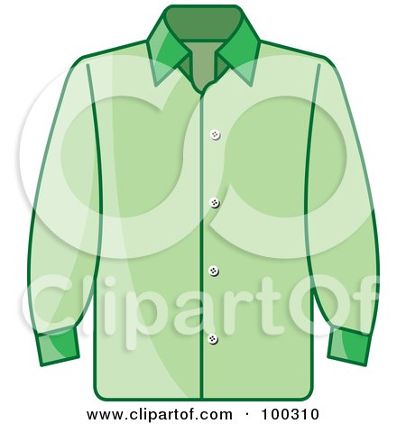 Royalty-Free (RF) Clipart Illustration of a Green Button Up Shirt by Lal Perera
