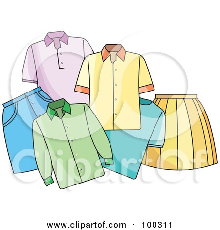 Royalty-Free (RF) Clipart Illustration of a Group Of Shirts And Skirts by Lal Perera