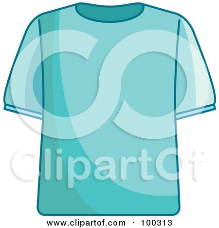 Royalty-Free (RF) Clipart Illustration of a Blue T Shirt by Lal Perera
