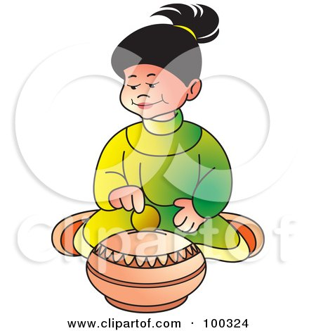Royalty-Free (RF) Clipart Illustration of a Little Girl Inserting A Coin In A Till by Lal Perera