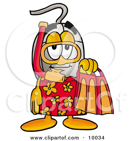 Clipart Picture of a Computer Mouse Mascot Cartoon Character in Orange and Red Snorkel Gear by Toons4Biz