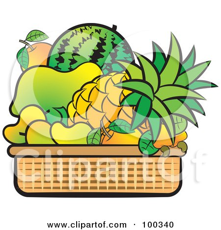 Royalty-Free (RF) Clipart Illustration of a Basket Of Tropical Fruits by Lal Perera