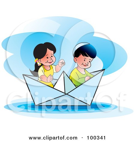 Royalty-Free (RF) Clipart Illustration of a Boy And Girl In A Paper Boat by Lal Perera