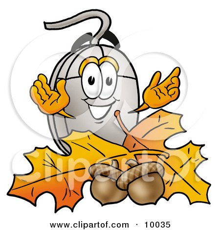 Clipart Picture of a Computer Mouse Mascot Cartoon Character With Autumn Leaves and Acorns in the Fall by Toons4Biz