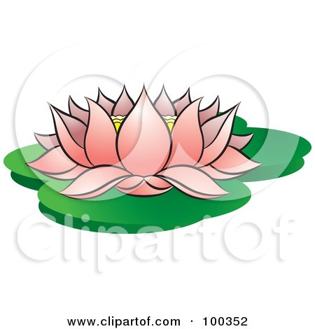 Royalty-Free (RF) Clipart Illustration of a Blooming Pink Lotus On Lily Pads by Lal Perera