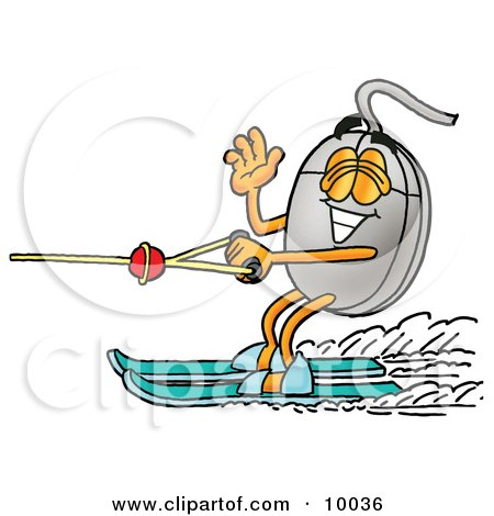 Clipart Picture of a Computer Mouse Mascot Cartoon Character Waving While Water Skiing by Toons4Biz