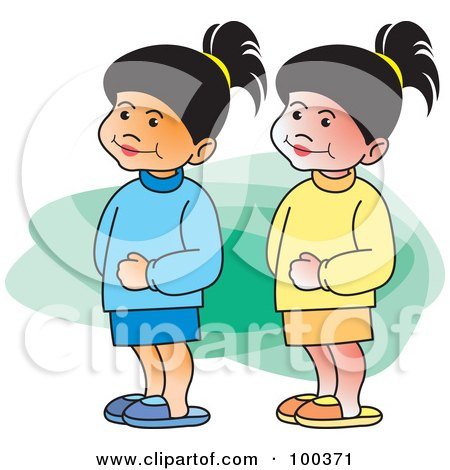 Royalty Free Rf Clipart Of Twin Sisters Illustrations
