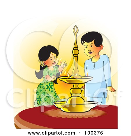 Royalty-Free (RF) Clipart Illustration of Sinhala Children Lighting An Oil Lamp by Lal Perera
