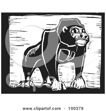 Black And White Engraved Wooden Plaque Of A Safari Gorilla Posters, Art Prints