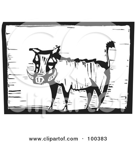 Royalty-Free (RF) Clipart Illustration of a Black And White Engraved Wooden Plaque Of A Safari Warthog by xunantunich