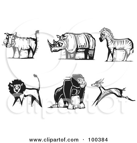 Royalty-Free (RF) Clipart Illustration of a Digital Collage Of Carved Styled Black And White Safari Boar, Rhino, Zebra, Lion, Gorilla And Antelope by xunantunich