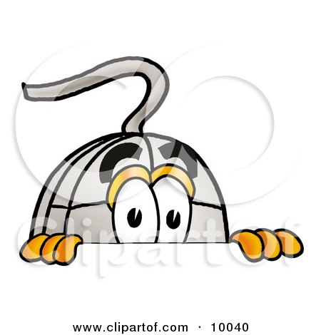 Clipart Picture of a Computer Mouse Mascot Cartoon Character Peeking Over a Surface by Toons4Biz