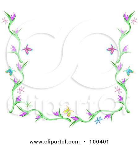 ... RF) Clipart Illustration of a Butterfly, Dragonfly And Flower Border