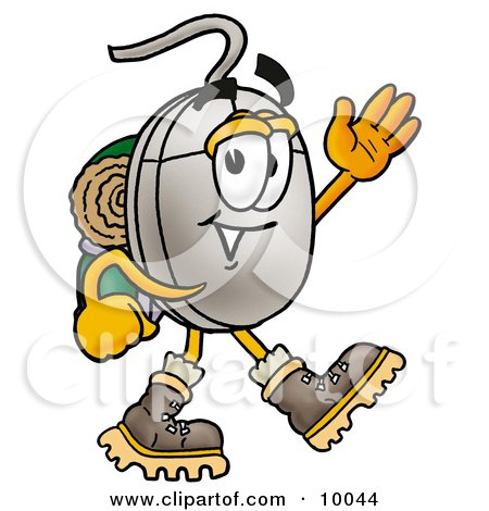 Computer Mouse Mascot Cartoon Character Hiking and Carrying a Backpack Posters, Art Prints