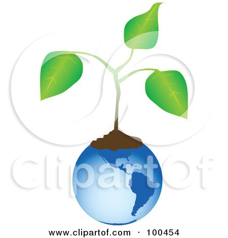 Royalty-Free (RF) Clipart Illustration of a Blue American Globe With Soil And An Organic Plant by tdoes