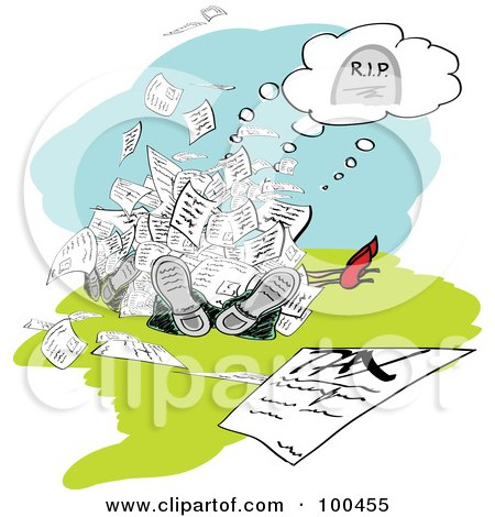 Royalty-Free (RF) Clipart Illustration of a Pile Of People Dead Under Tax Documents by MacX