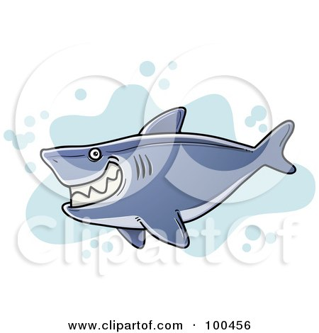 Royalty-Free (RF) Clipart Illustration of a Chubby Grinning Shark Over Blue Splatters by Qiun
