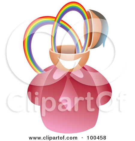 Royalty-Free (RF) Clipart Illustration of a Businessman With A Rainbow Brain by Prawny