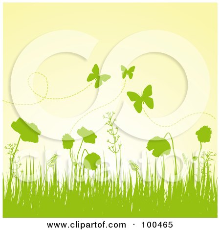 Royalty-Free (RF) Clipart Illustration of a Spring Background Of Green Silhouetted Grass, Plants And Butterflies Against A Yellow Sky by Pushkin